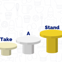 """Three podiums in ascending height with """"take a stand"""" on each pedestal."""