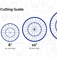 Diagrams to aid in cutting cakes from 4 inches to 12 inches