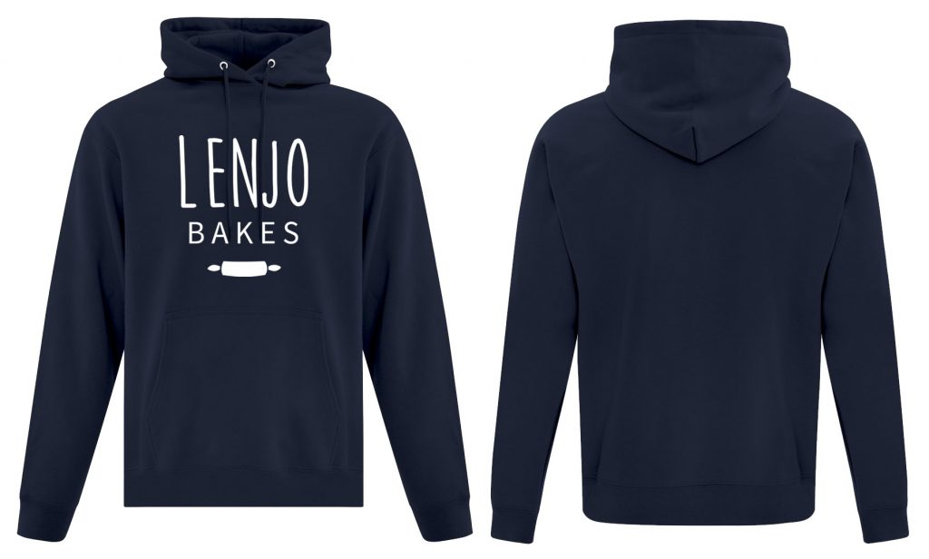 Side by side navy hoodie with full front logo