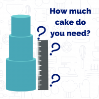 Graphic with stacked cake, ruler, and question marks.